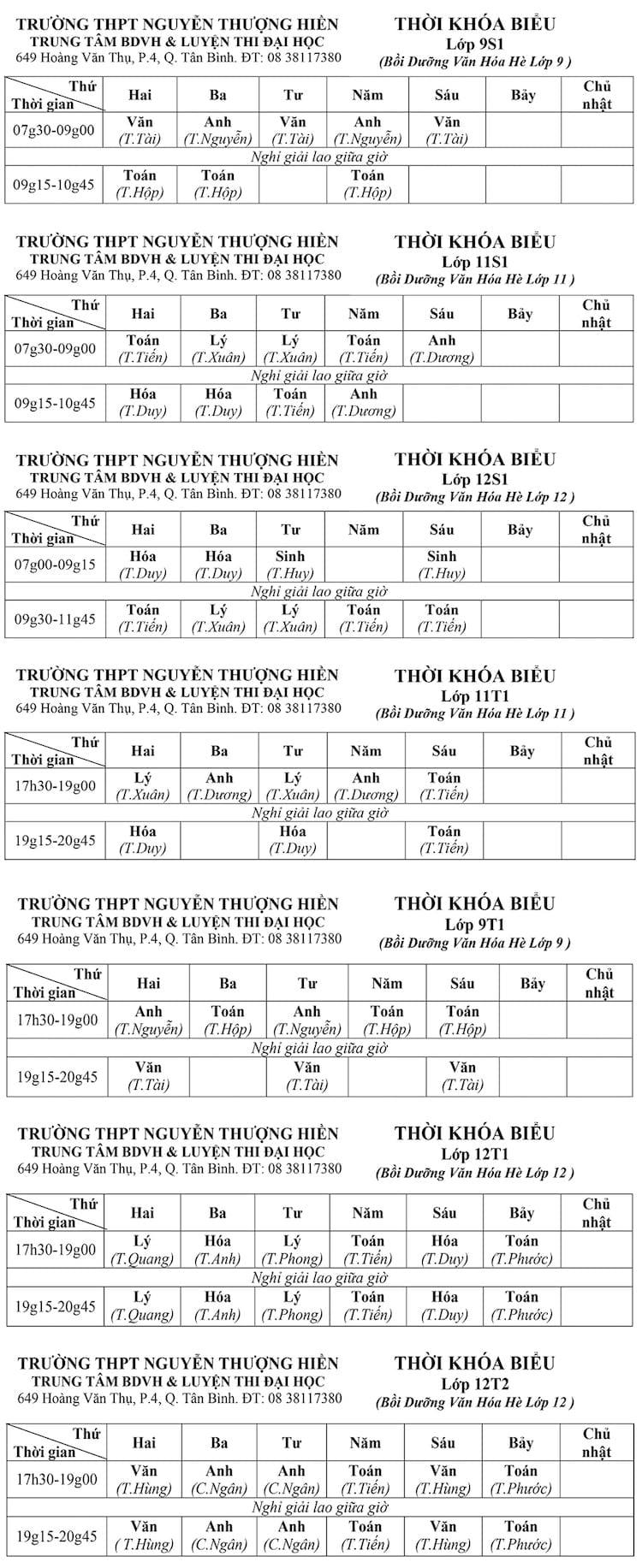 TKB các lớp Bồi Dưỡng Văn Hóa Hè Lớp 9-10-11-12 từ ngày 13/6/2016