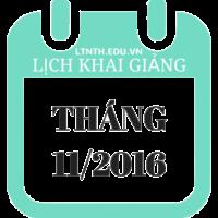 Lịch khai giảng khóa học tháng 11 – 2016