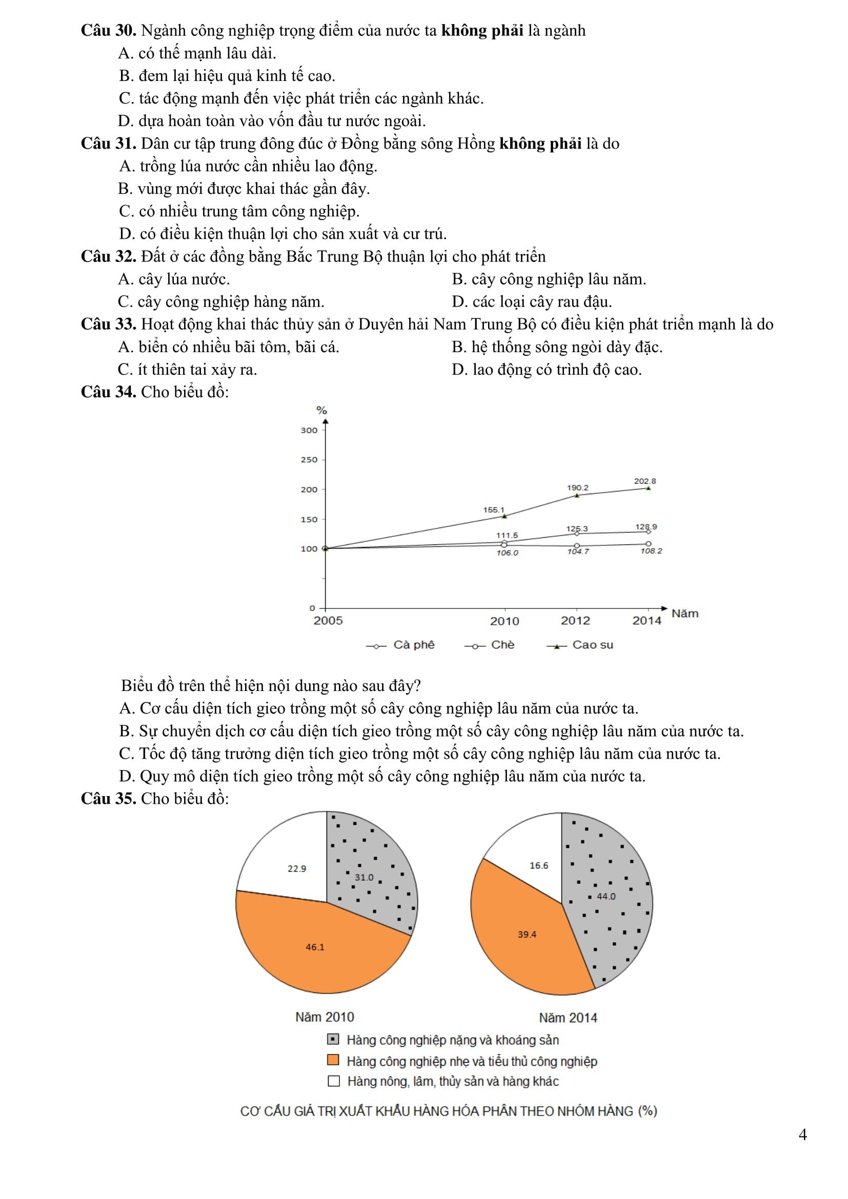 Đề thi mẫu môn Địa lý của kỳ thi THPT quốc gia 2017 - 04