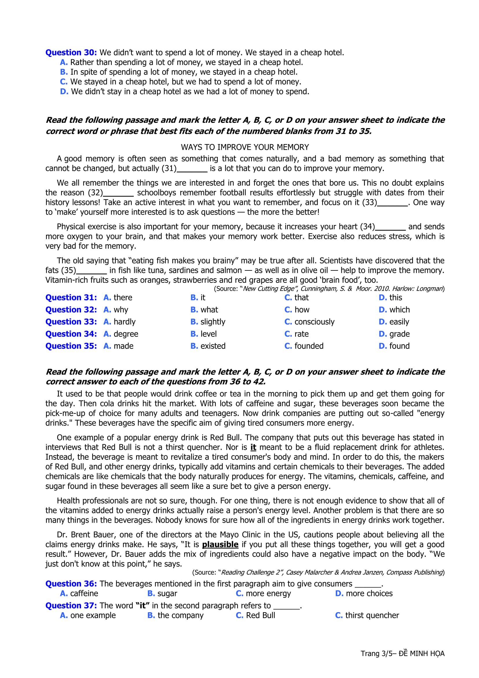 Đề thi mẫu môn tiếng Anh của kỳ thi THPT quốc gia 2017 - Trang 03