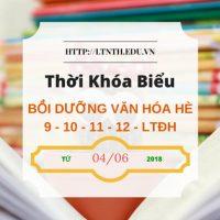 TKB các lớp bồi dưỡng văn hóa hè 9-10-11-12, luyện thi đại học hè 2018 từ 4/6/2018 (Banner)
