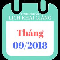 Lịch khai giảng khóa học tháng 09/2018
