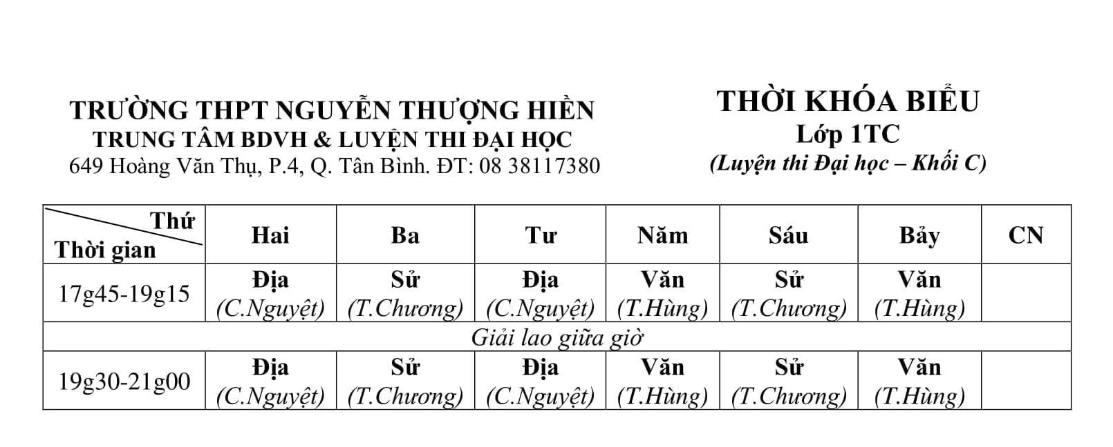 TKB các lớp luyện thi đại học, luyện thi THPT quốc gia 2019 tối từ 24/9/2018 - Hình 3