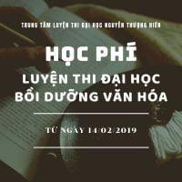 Học phí Luyện thi đại học, bồi dưỡng văn hóa từ ngày 14/2/2019 - Banner