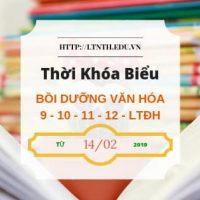 TKB các lớp Bồi Dưỡng Văn Hóa, Học Thêm 2019 9-10-11-12-LTĐH từ 14/2/2019 - Banner