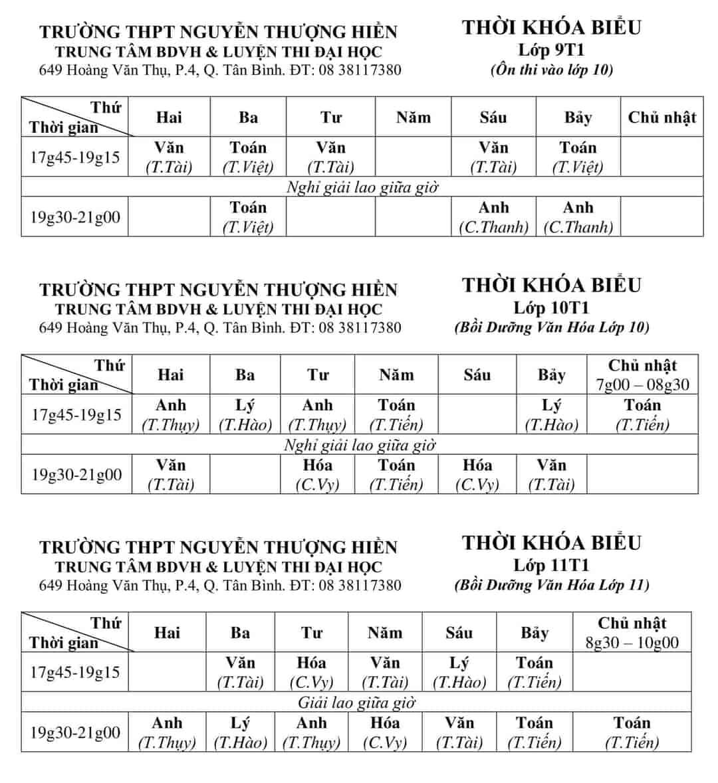 TKB các lớp Bồi Dưỡng Văn Hóa, Học Thêm 2019 9-10-11 từ ngày 18/2/2019 - File Hình