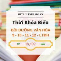 TKB các lớp Bồi Dưỡng Văn Hóa, Học Thêm 2019 9-10-11 từ ngày 18/2/2019 - File Banner