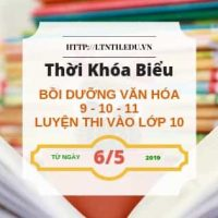 TKB các lớp Luyện Thi Vào Lớp 10, Bồi Dưỡng Văn Hóa, Học Thêm 2019 5/6 - Banner