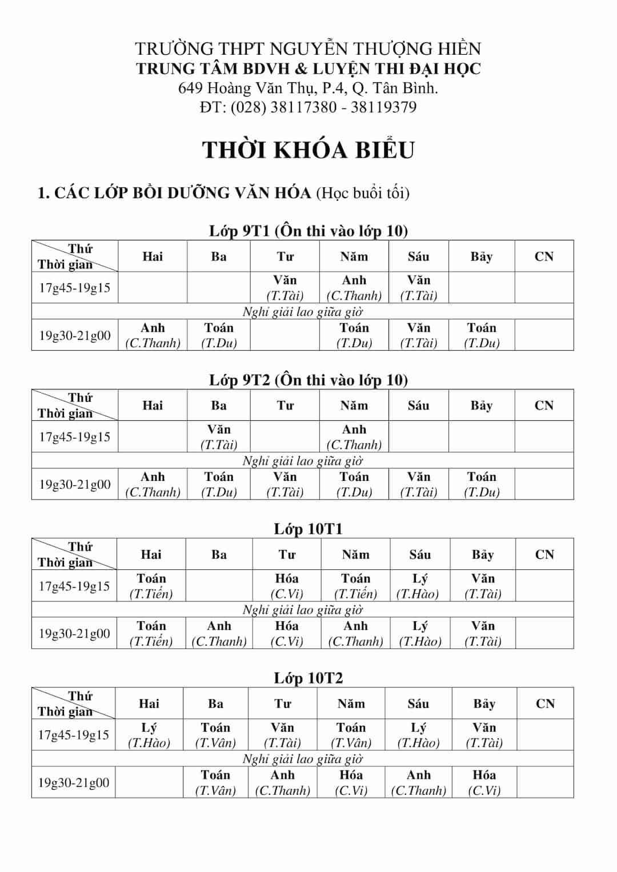TKB các lớp Luyện Thi Đại Học, Bồi Dưỡng Văn Hóa, Học Thêm 2019-2020 Từ Ngày 26/8 File hình 1