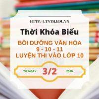 TKB các lớp Bồi Dưỡng Văn Hóa, Học Thêm 2020 Từ Ngày 3/2/2020 (Banner)