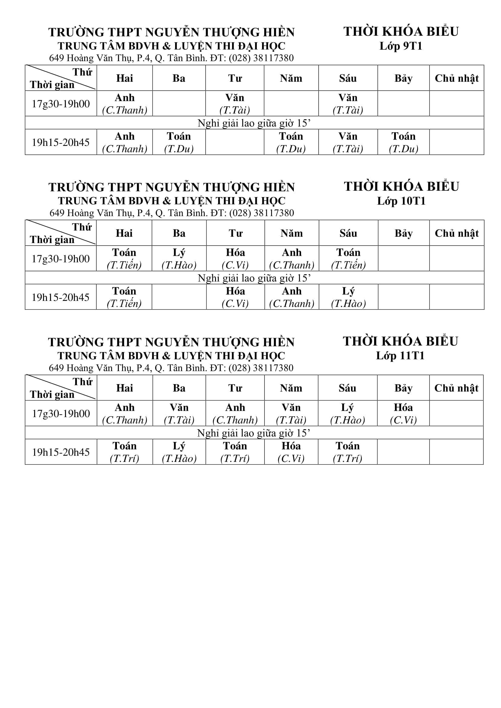 TKB các lớp Bồi Dưỡng Văn Hóa, Học Thêm 2020 Từ Ngày 3/2/2020 (File Hình)