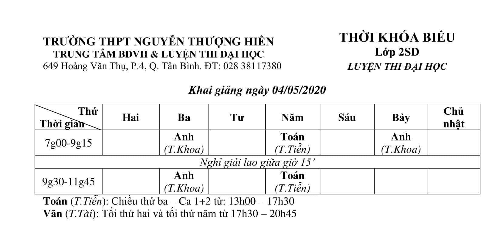 TKB các lớp Luyện Thi Đại Học 2020, Luyện Thi THPT QG 2020 Từ Ngày 12/5/2020 (Hình 3)