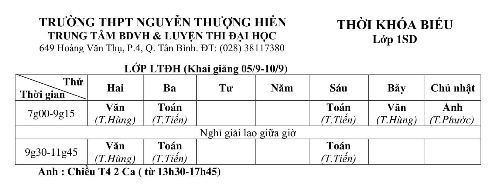 TKB các lớp Luyện Thi Đại Học 2021, THPT QG 2021, Bồi Dưỡng Văn Hóa Từ Ngày 9/9/2020 (Hình 4)