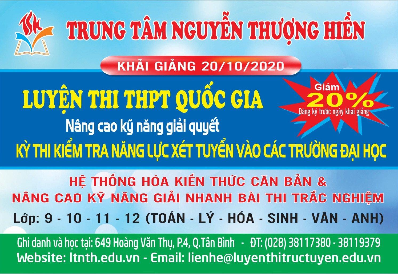 Khóa luyện thi đại học tháng 10/2020 của Trung tâm Nguyễn Thượng Hiền