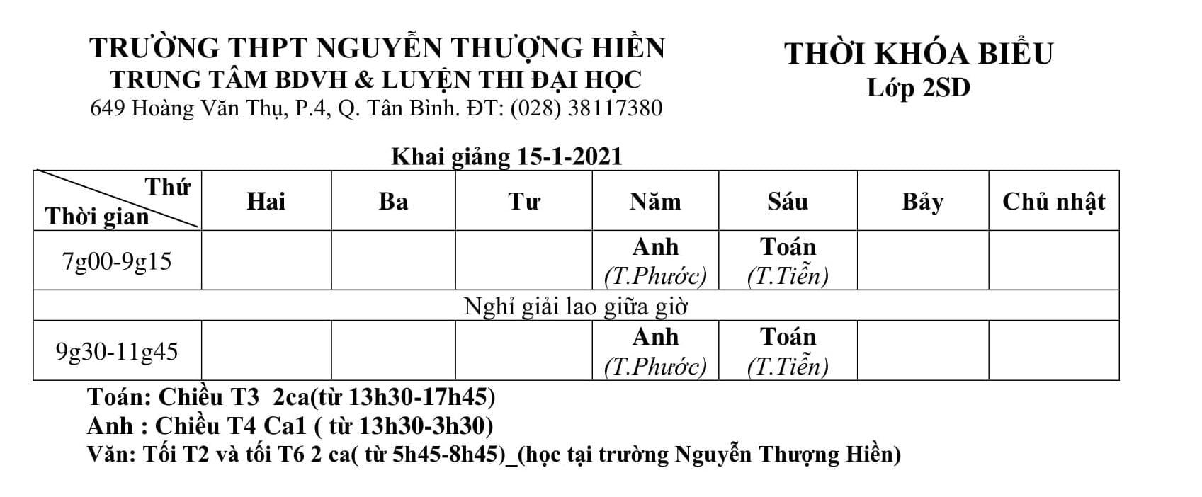 TKB các lớp Luyện Thi Đại Học 2021, Luyện Thi THPT QG 2021 khai giảng ngày 15/1/2021 (Hình 2)