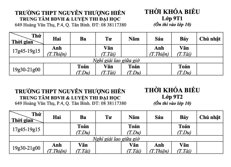 TKB các lớp Bồi Dưỡng Văn Hóa Hè Lớp 9 từ ngày 12/7/2021